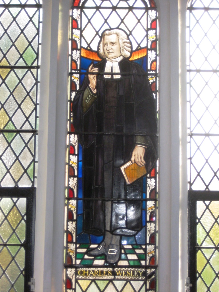 Charles Wesley depicted in stained glass