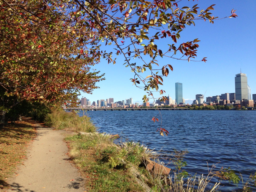 A view of the Charles River and the Boston skyline