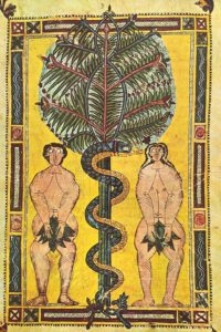 Adam & Eve, illuminated manuscript circa 950, Escorial Beatus