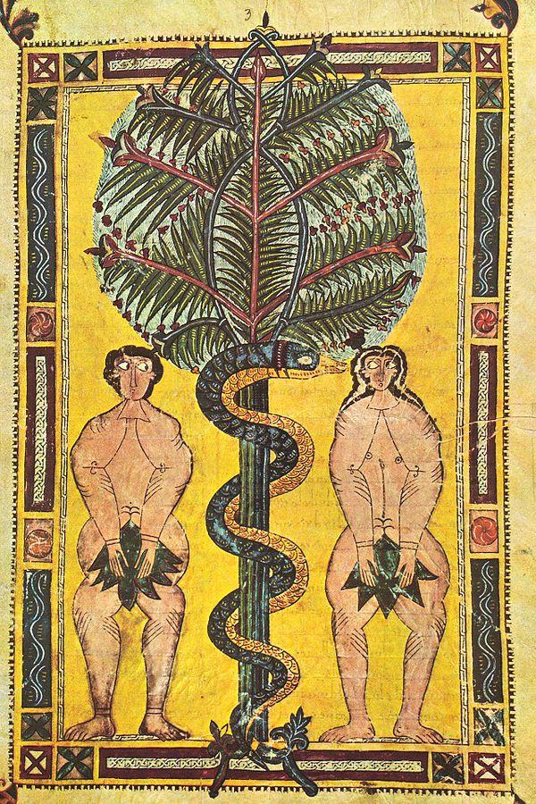 Adam & Eve, illuminated manuscript circa 950, Escorial Beatus