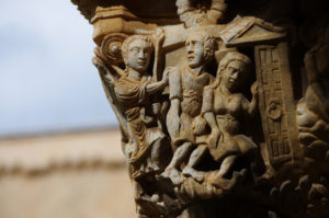 The Expulsion of Adam and Eve from the Garden, carved in stone in the cloister at the Cattedrale di Monreale, overlooking Palermo
