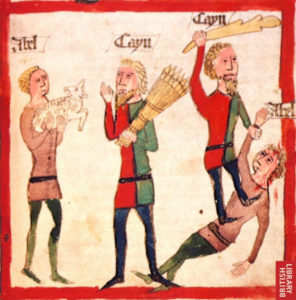 Cain and Abel, 15th-century German depiction from Speculum Humanae Salvationis