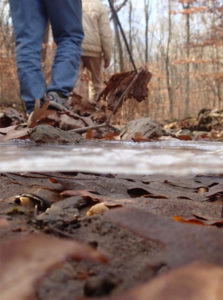 Walking along a stream bed near Alto Pass at Thanksgiving