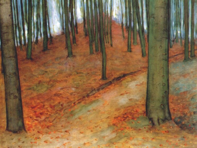 """Mondrian's painting entitled """"Wood with Beech Trees"""""""