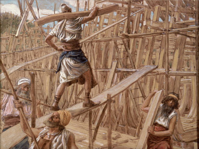 Painting by Tissot of the hard labor involved in building the Ark