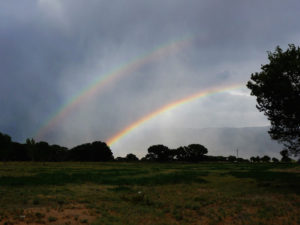Photograph of a Double Rainbow taken at Bishop, CA