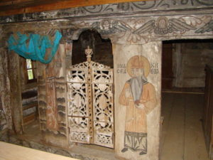 An image of Melchizedek painted onto the altar side near the Royal Doors at Libotin wooden church, Maramureş County, Romania