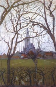 Village Church, painting by Piet Mondrian