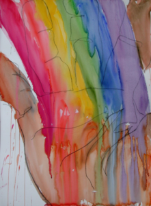 """Rainbow in My Hand"" watercolor by Gwen Meharg"