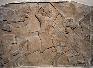 "Assyrian relief of a horseman from Nimrud, now in the British Museum. ""Battle scene, Assyrian, about 728 BC. From Nimrud, Central Palace, re-used in South-West Palace."""