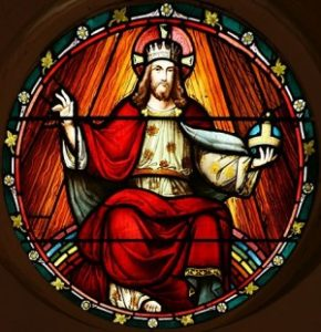 Stained glass panel in the transept of St. John's Anglican Church, Ashfield, New South Wales (NSW). This scene illustrates Jesus reigning as King on high. The window is approximately 1m in diameter.