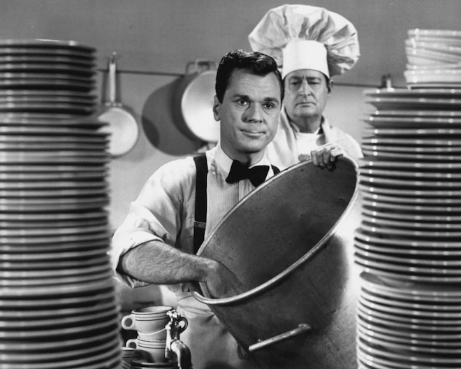 Image of Jackie Cooper's character washing dishes from The People's Choice, 1955.