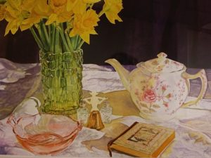 Watercolor flowers in a vase, a teapot, journal and other small items.