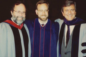 Photograph of Mark (center) with Lloyd Ogilve and Ben Patterson, founding pastor of Irvine Pres)