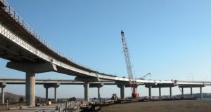 Image of a bridge ramp in the process of being built.