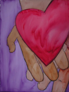 "Painting of heart in hands titled ""Take My Heart"" by Gwen Meharg"