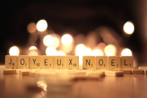"Scrabble tiles spelling out ""Joyeux Noel""."
