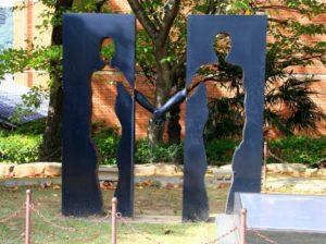 Infinity Statues in Nagasaki Peace Park, Japan.