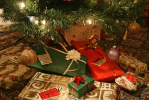 Christmas presents under the tree.
