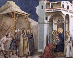 The Adoration of the Magi by Giotto. Fresco in Lower Church, San Francesco, Assisi.