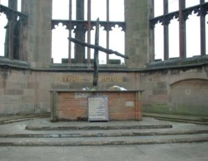 The Charred Cross of Coventry Cathedral in England.
