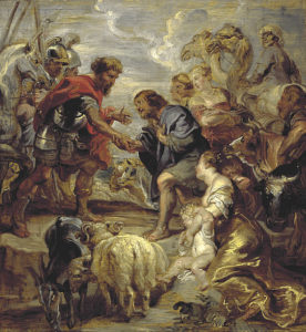 """Painting of """"Reconciliation of Jacob and Esau"""" by Reubens, Peter Paul."""