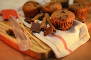 Home baked goodness of muffins with chocolate & cinnamon.