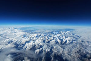 Pyrenees Mountains as viewed from above the earth.