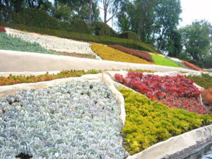 Landscape in Storybook Land at Disneyland resembling a patchwork quilt.