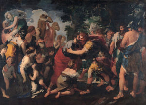 "Painting by Raffaellino Bottalla, ""Meeting between Esau and Jacob"