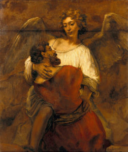 "Rembrandt's painting, ""Jacob Wrestling with the Angel"""