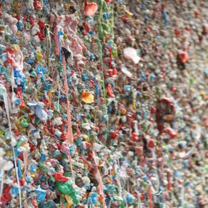 Wall covered in chewing gum