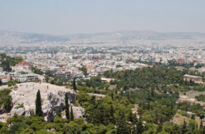 A view of Mars' Hill in Athens (on the left) from the Parthenon.