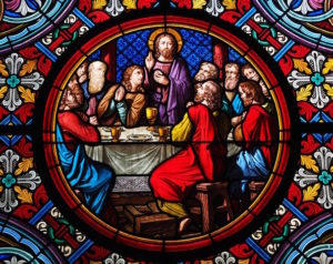 Stain glass depicting Jesus' last supper.