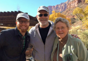 Mark's mom, his son, Nathan, and Mark in Zion National Park, after they completed a three-mile hike a couple of months ago.