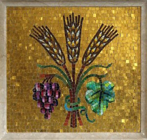 Mosaic of wheat and grapes.