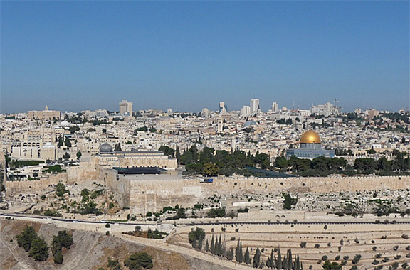 Temple Mount in Jerusalem seen from the Mount of Olives