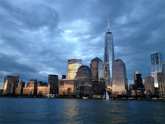 New York from the Hudson River at sunset