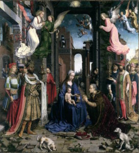 """The Adoration of the Kings. Gossart, Jan. 1500-15, Oil on wood, National Gallery, London."""