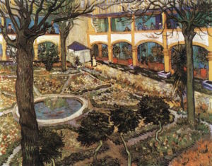 The Courtyard of the Hospital at Arles. Vincent van Gogh. April 1889, Arles. Oil on canvas, 73 x 92 cm. Oskar Reinhart Collection, Winterthur. www.wga.hu