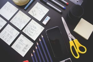 Layout of work materials: notes, office supplies, etc.