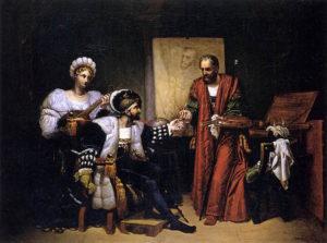 """""""Charles V Picking up Titian's Paintbrush, 1808. Bergeret, Pierre-Nolasque. Oil on canvas, Musée des Beaux-Arts, Bordeaux."""""""