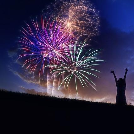 Celebrating with fireworks.