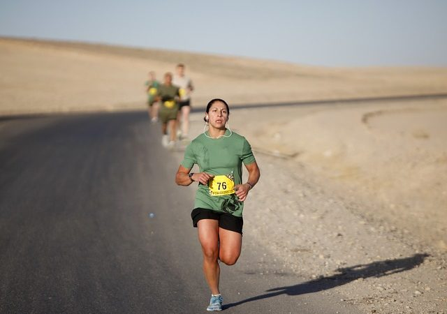 Person long distance running with persistence.