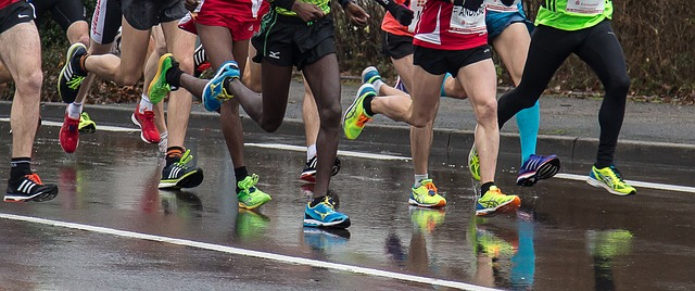 Long distance runners in a race