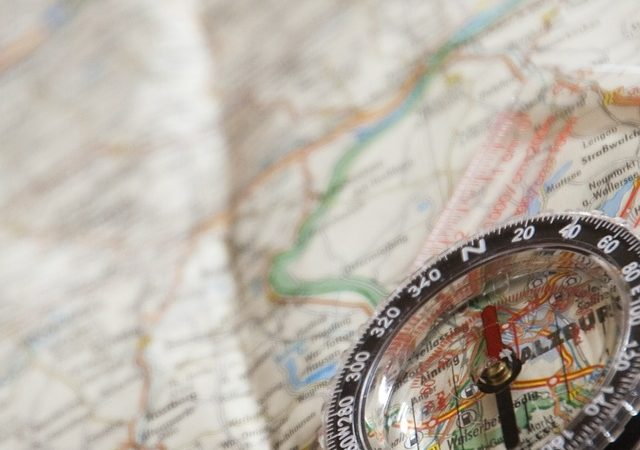 A compass and a map.