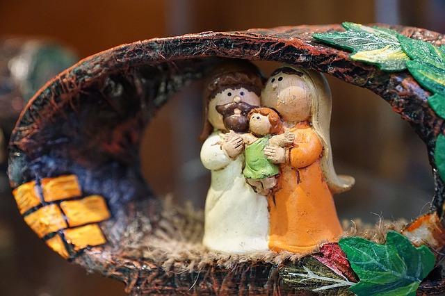 Figurines of Joseph, Mary, and baby Jesus.