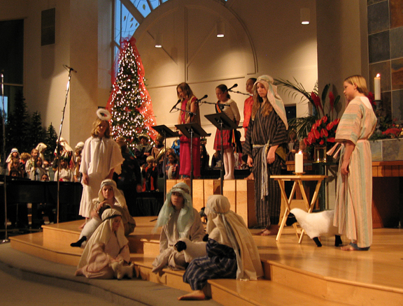 A Christmas Eve service at Irvine Presbyterian Church. My daughter is the shepherd with the light blue shawl.