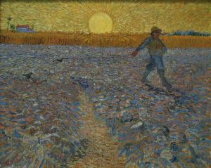 The Sower, June 1888, Kröller-Müller Museum, Otterlo. Van Gogh made several similar paintings inspired by Jean-François Millet's The Sower.