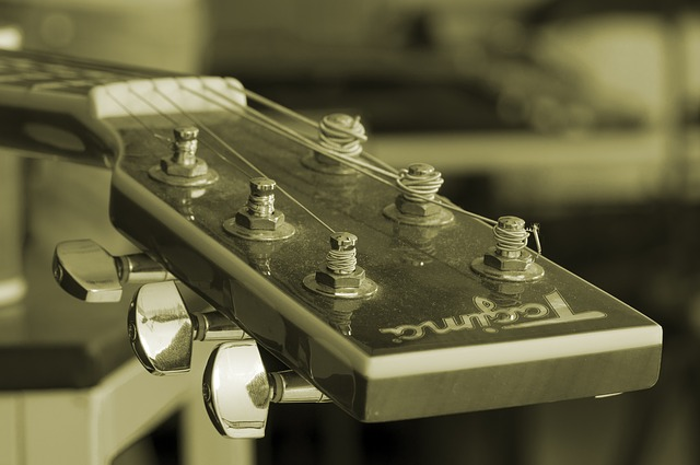 The tuning pegs of a guitar.